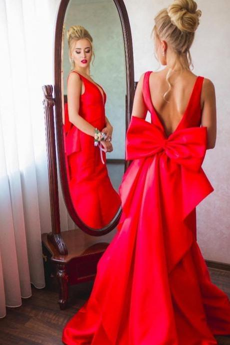 Backless Deep V Neck Mermaid Prom Dresses with Bow in Red Satin