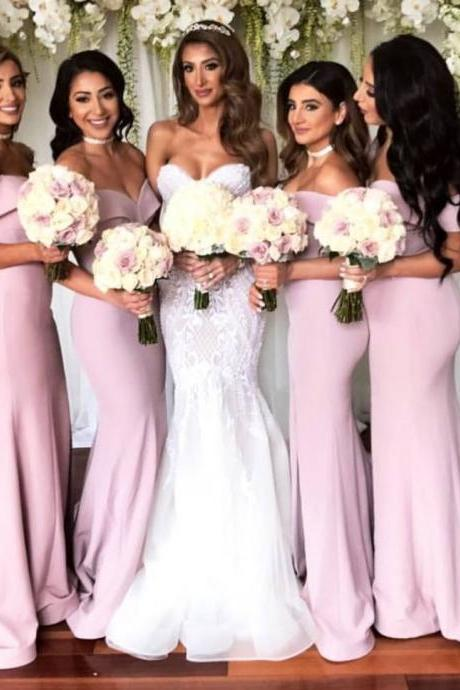 Off-Shoulder Satin Mermaid Long Bridesmaid Dresses with Front Slit 2018