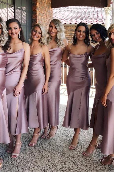 Simple Short Mermaid Bridesmaid Dresses with Sexy Slit 2018