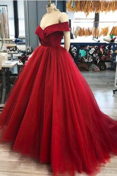 Off The Shoulder V-Neck Tulle Ball Gown Prom Dresses Long 2019