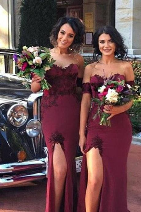 Off-Shoulder Mermaid Long Bridesmaid Dresses with Lace Appliques and Slit