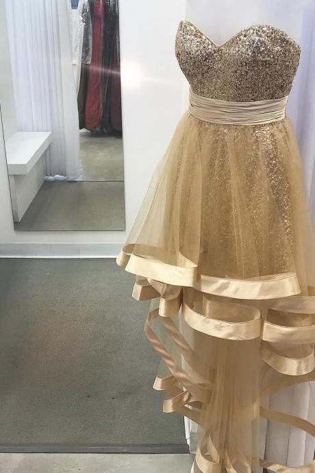 Gold Sequins High Low Sweetheart Prom Dresses Long 2018