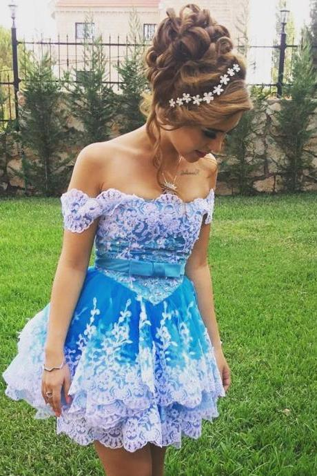 Off Shoulder Short Ball Gown Prom Dresses with Tired Lace Skirt 2018