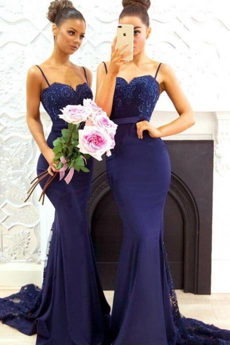 Long Sweetheart Mermaid Bridesmaid Dresses with Spaghetti Straps 2018