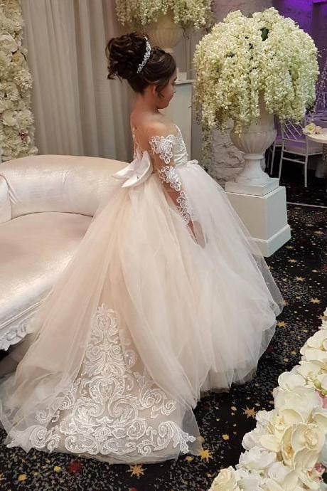 Cute Long Sleeves Ball Gown Flower Girl Dresses with Bow 2018