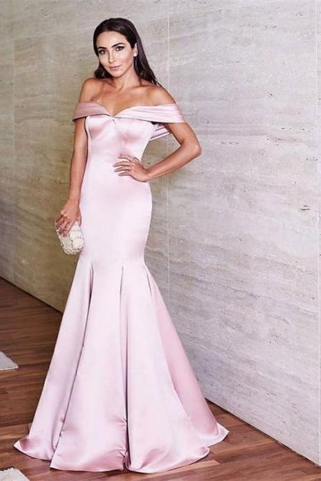 Off the Shoulder Satin Mermaid Prom Evening Dresses Long 2018