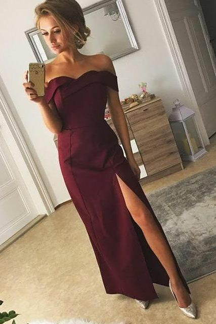 Off the Shoulder Maxi Satin Prom Dresses with Slit 2018
