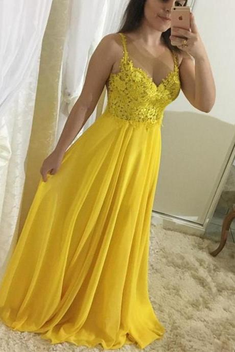 Nude Back Yellow Chiffon Prom Dresses Long with Lace Appliques 2018