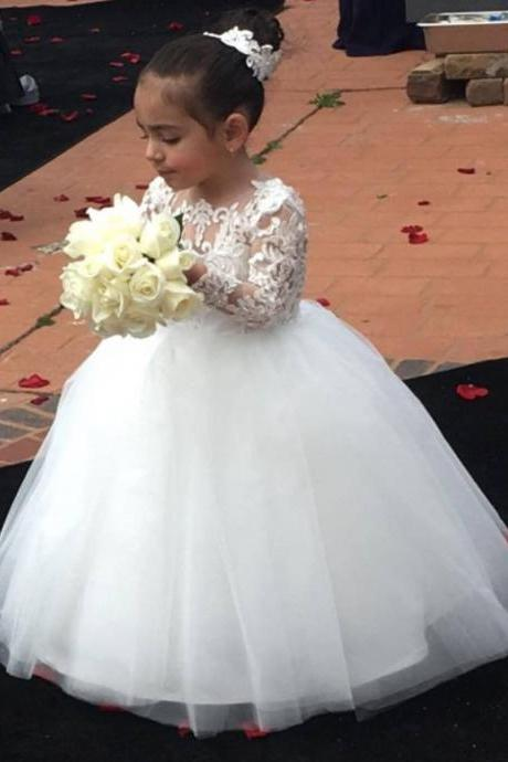 White Ball Gown Flower Girl Dresses with Long Lace Sleeves 2018