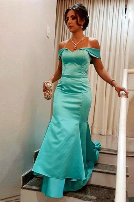 Sexy Off-the-shoulder Long Satin Mermaid Prom Dresses 2018 Tiered Skirt
