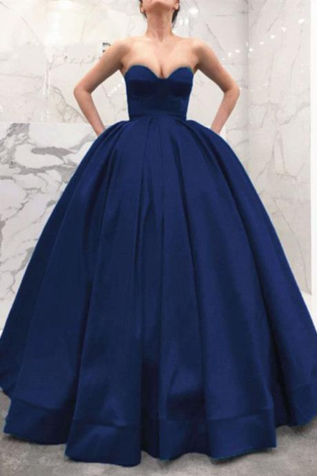 Strapless Sweetheart Bodice Corset Satin Ball Gowns Prom Dresses