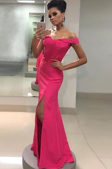 Fuchsia Satin Off Shoulder Long Prom Dresses with Slit 2018