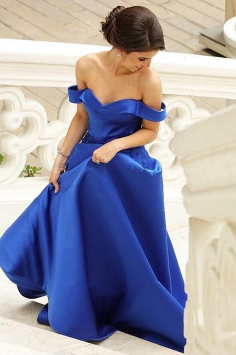 Royal Blue Satin Off Shoulder Long Prom Dresses With Flowers 2018