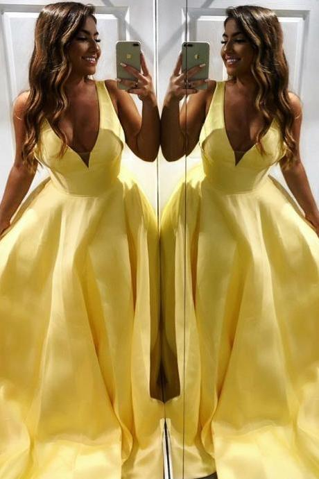 Yellow Satin Backless Long Prom Dresses Sexy V neck Formal Gowns 2019