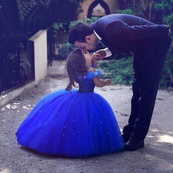 Cinderella Flower Girl Dresses 2018 Royal Blue Pageant Dress for Girls , First Communication Gowns ,Butterfly Flower Girls Dress with Crystals ,Kid Gowns,Said Mhamad Dresses
