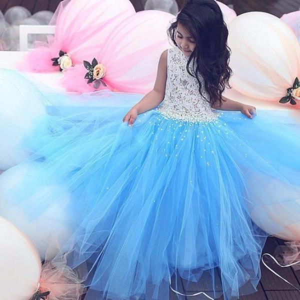 Pageant Children Dresses 2017 Sky Blue Puffy Tulle Ball Gown Flower Girls Dresses with Lace Pearls First Communication Dresses Beautiful Flower Girl Dress for Weddings