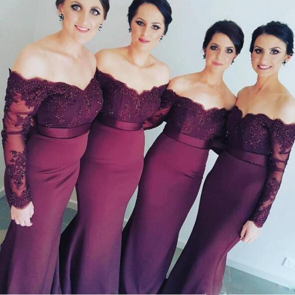 New Design 2017 Mermaid Bridesmaid Dresses with Long Sleeves Beaded Lace Appliques Off Shoulder Elegant Bridesmaid Gowns Maid of Honor Dress for Weddings