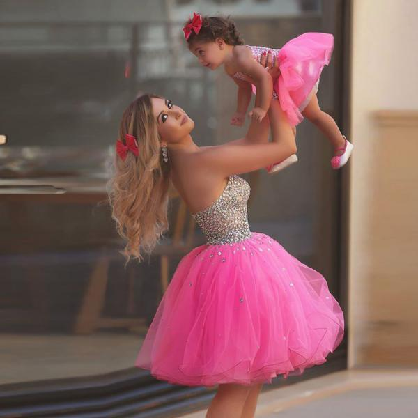 Sparkling Prom Dresses Major Crystals Pink Ball Gown Short Prom Dress Sweetheart Party Gowns Mother Daughter Dresses Lovely Mini Mi Gowns