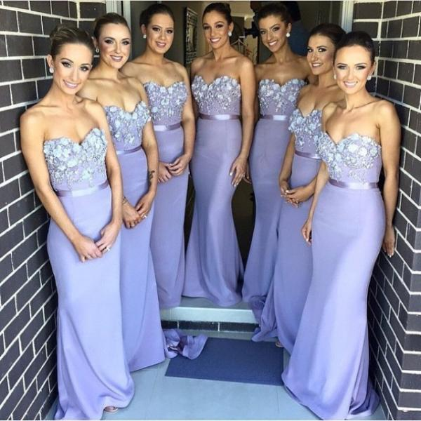 Lavender Bridesmaid Dresses Hand Make Flowers Mermaid Maid of honor Dress Long Party Gowns for Weddings Cheap Price Bridesmaid Gowns Elegant Wedding Guest Dress