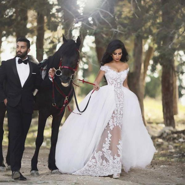 Sexy Mermaid Wedding Dress with Removable Skirts 2017 Said Mhamad Off Shoulder Bridal Wedding Gowns Short Lace Sleeves Wedding Dresses Dubai Nigerian