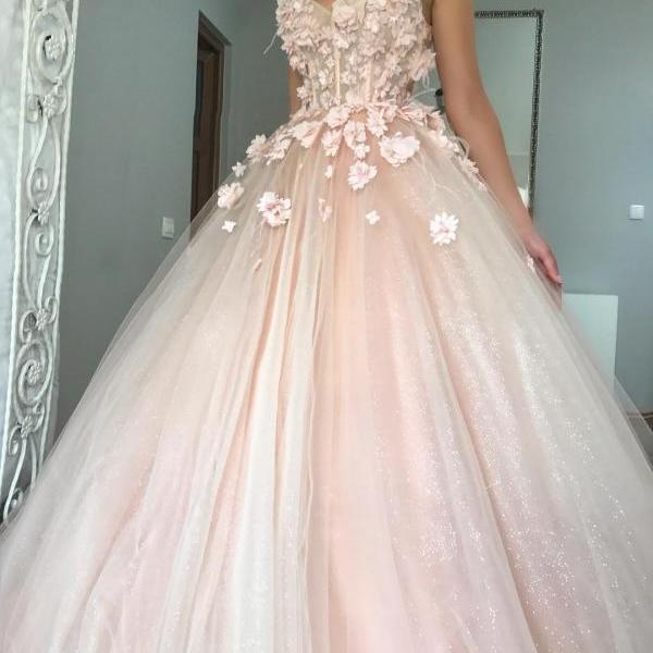 Sleeveless Illusion Neckline Tulle Ball Gown, Prom Dress, Evening Dress with Floral Appliques and Shimmery Glitter