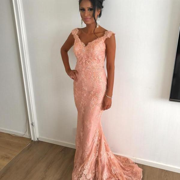 Fashion Coral Lace V-Neck Mermaid Evening Dresses Long 2018 Appliques Caftan Party Prom Gowns Formal Women Dress robe de soiree