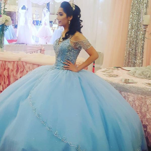 Sparkly Beading Bodice Blue Quinceanera Dress 2018 Spaghetti Strap Lace Up Back Luxurious Sweet 15 Party Dresses vestidos de 15 anos princesa