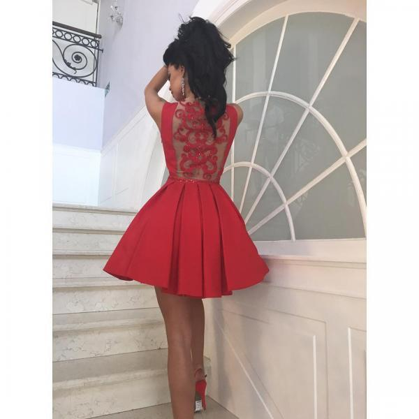 Red Satin Short Prom Dress with Art Back and Pockets