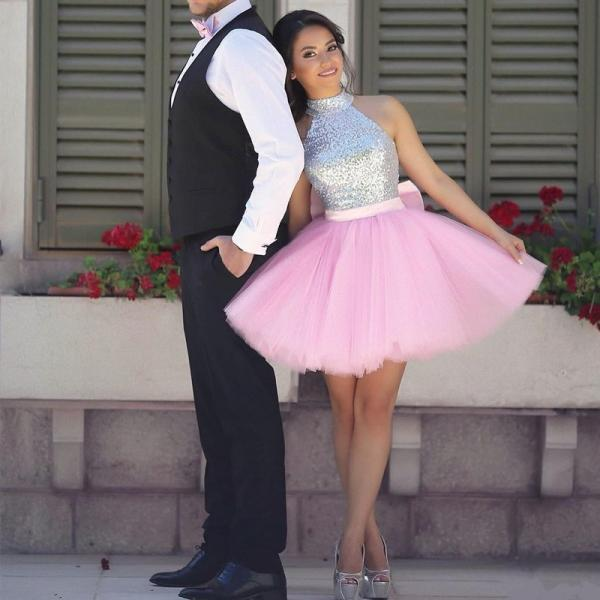 Silver Sequins High Neck Mini Ball Gowns Pink Tulle Homecoming Dresses with Bow