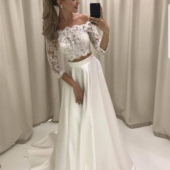 Boho Style Lace Sleeves Two Piece Wedding Dresses Off Shoulder Satin Beach Bridal Gowns