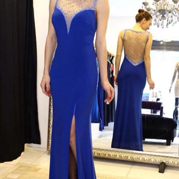 Sparkly Beaded Sheer Back Royal Blue Mermaid Evening Dresses Split Formal Gowns Long