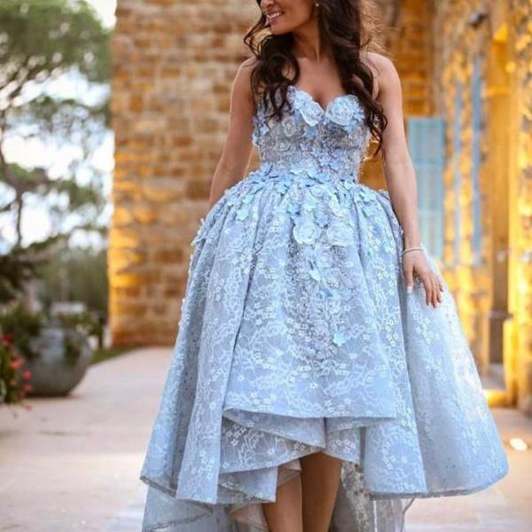 Amazing Gray Lace Sweetheart High Low Prom Dresses Long 2019