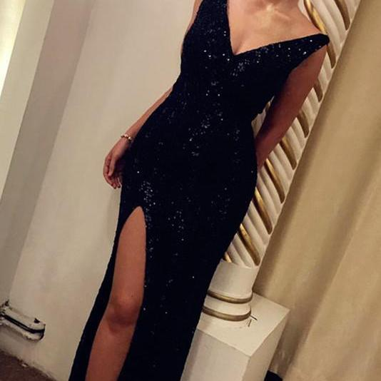 Black Sequins Sheath Evening Dresses Gowns Long 2018