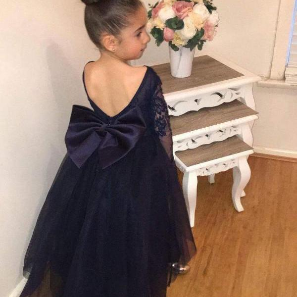 Lovely Dark Navy Tulle Backless Flower Girl Dresses with Long Lace Sleeves 2018