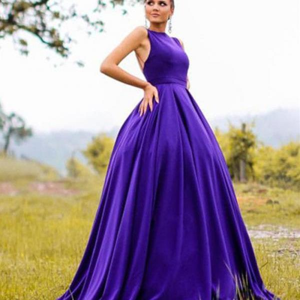 Long Satin Ball Gowns Prom Dresses 2018 Open Back Evening Gown