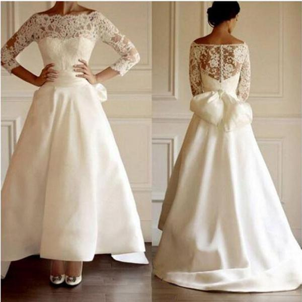 Long High Low Satin Wedding Dress with 3/4 Lace Sleeves and Bow 2018